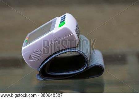 Close Up, Detail Of Blood Pressure Cuff Monitor Isolated. Digital Blood Pressure Measuring Device. B