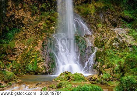 Waterfall In Nature. Gostilje Waterfall In Serbia. Mountain River Waterfall. Nature. Waterfall. Natu