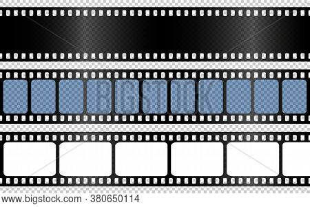 Realistic Film Strips Collection On Transparent Background. Old Retro Cinema Strip. Vector Photo Fra
