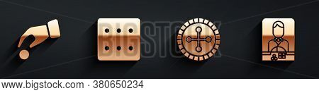 Set Hand Holding Casino Chips, Game Dice, Casino Roulette Wheel And Casino Dealer Icon With Long Sha
