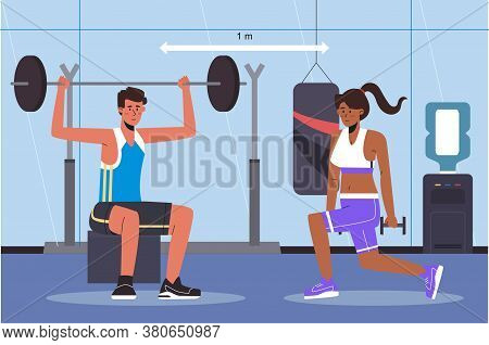 Social Distancing In A Gym. People Doing Exercise Keeping Distance From Each Other. Training In A Sp