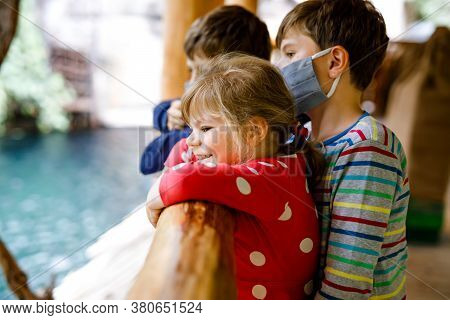 Two Kids Boys And Toddler Girl Visiting Together Zoo. Three Children Watching Animals And Insects. S
