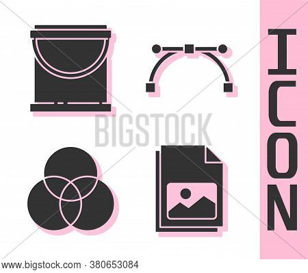 Set Picture Landscape, Paint Bucket, Rgb And Cmyk Color Mixing And Bezier Curve Icon. Vector