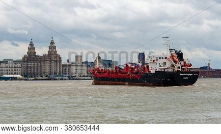 Seacombe, Uk: Jun 23, 2020: The Oil & Chemical Tanker Stolt Sandpiper Passes Liverpool Waterfront As