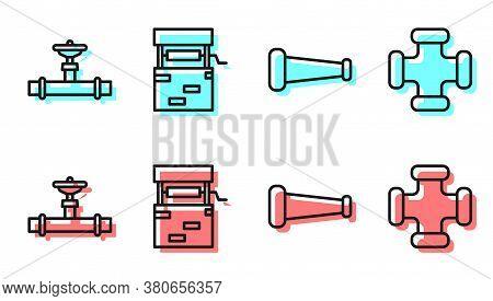 Set Line Industry Metallic Pipe, Industry Pipe And Valve, Well And Industry Metallic Pipe Icon. Vect