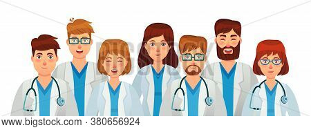 Group Of Doctors. Professional Medical Staff Team, Uniform Clinic, Nurse And Surgeon With Stethoscop