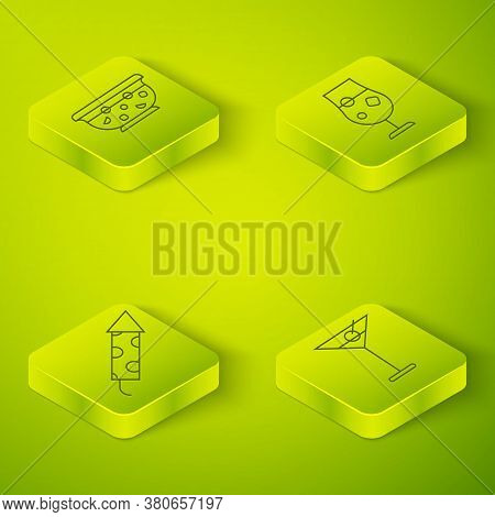 Set Isometric Cocktail And Alcohol Drink, Firework Rocket, Martini Glass And Mixed Punch In Bowl Ico