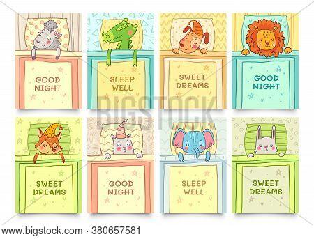 Sweet Dreams Card With Sleeping Animals Set. Animal Sleep Sweet, Bunny Dreaming, Crocodile Sleeping.