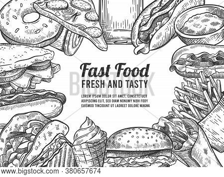 Fast Food Sketch. Hand Drawn Hot Dog, Pizza And Donuts, Burger And Fries, Ice Cream And Cola. Junk F