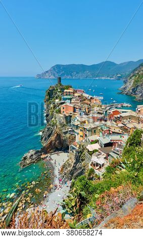 View of Vernazza small town by the sea in Cinque Terre, Liguria, Italy. Picturesque italian lansdcape
