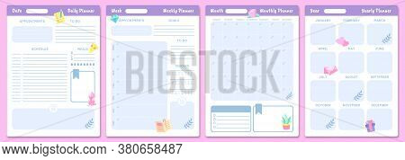 Cute Planner Templates. Daily, Weekly, Monthly And Yearly Planners. Schedule Page Journal, Stationer
