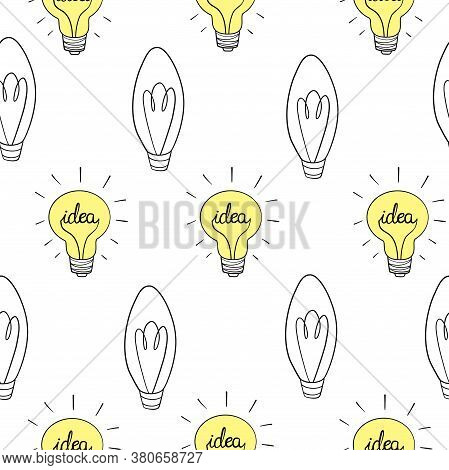 Seamless Vector Pattern, Texture Or Background With Light Bulbs Turn On And Off Random. For Website