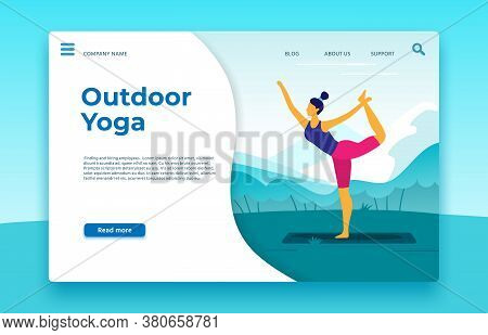 Outdoor Yoga Classes Landing Page. Yoga Outdoor Banner, Healthy Sport Lifestyle Web Page, Vector Ill