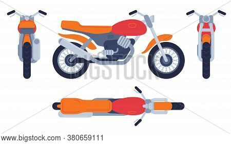 Motorcycle In Different Positions. Motorbike Top, Front Back And Side View, Detailed Motocross Vehic