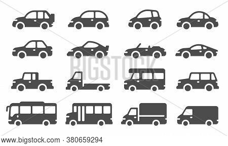 Car Icons. Black Vehicle Silhouettes, Automobiles For Travel, Auto Models. Sedan, Truck And Suv, Bus