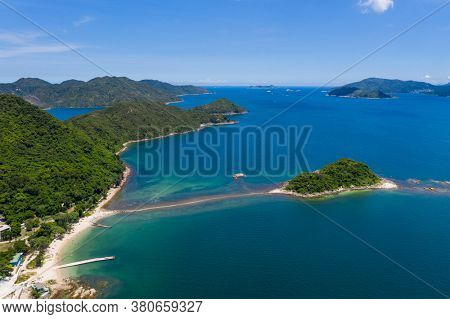 Drone fly over beautiful landscape island and sea in Sai Kung of Hong Kong
