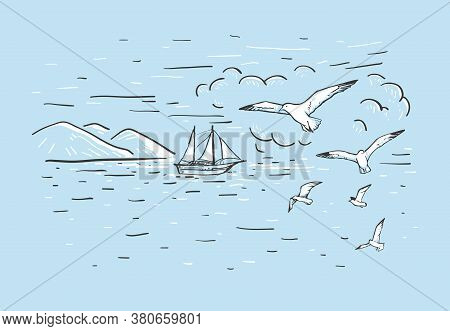 Marine Horizontal Sketch With Hand Drawn Vector Sailboat, Mountains, Clouds And Seagulls On A Blue B