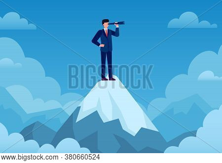 Business Vision. Businessman On Mountain Peak With Telescope Looking New Idea, Business Startup, Vis