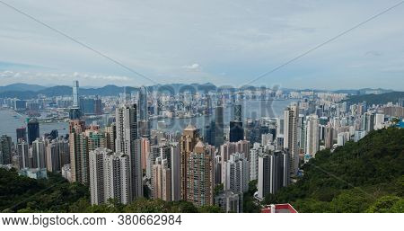 Victoria Peak, Hong Kong 15 July 2020: Hong Kong city skyline