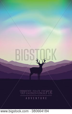 Wildlife Adventure Elk In The Wilderness At Nothern Lights Vector Illustration Eps10