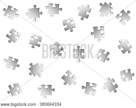 Business Conundrum Jigsaw Puzzle Metallic Silver Parts Vector Illustration. Top View Of Puzzle Piece