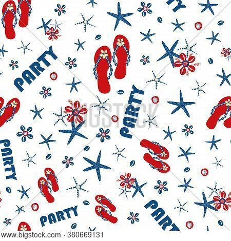 Party Flip Flop Shoe Seamless Vector Pattern Background. Red, Blue, White Backdrop With Text, Sandal