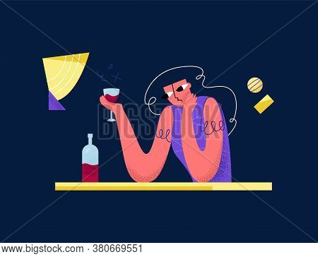 Vector Flat Illustration Sad Young Woman Drinking Wine In Bar. Concept Experiencing, Drinking Alcoho