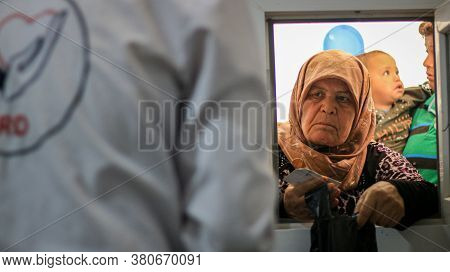 Aleppo, Syria, March 5, 2019:\nportrait Of A Tired Elderly Woman, \nclose Up Of Tired Old Women Face