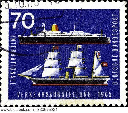 02 10 2020 Divnoe Stavropol Territory Russia The German Postage Stamp 1965 International Traffic Exh