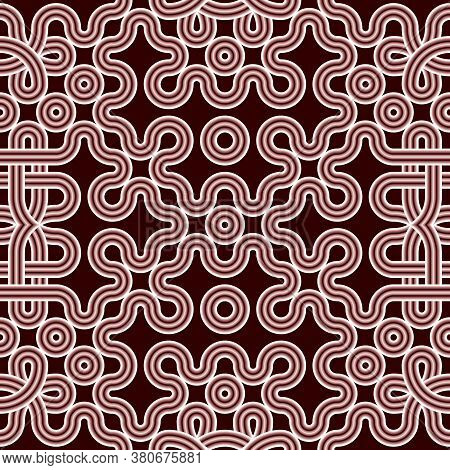 Red And White Intricate Seamless Volumetric Ethnic Pattern Of Knots. Monochrome Minimalistic Three-d