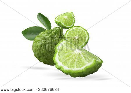 Green Bergamot Fruit And Leaves On White Background With Clipping Path.