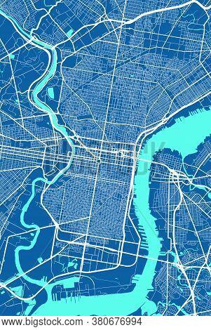 Philadelphia City Map Poster. Map Of Philadelphia Street Map Poster. Philadelphia Map Vector Illustr