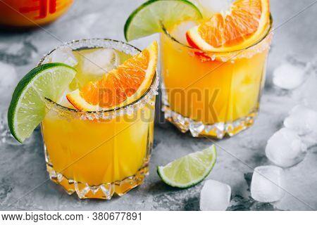 Orange Lime Margarita. Refreshing Summer Drink With Ice