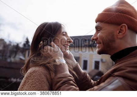 In Love Stylish Young Couple Kissing In The City. Fashion Outdoor Sensual Romantic Portrait Of Beaut