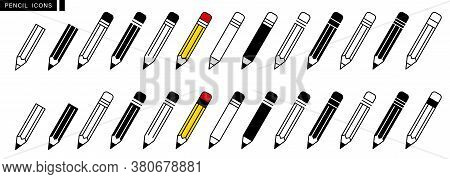 Pencil Icon Set. Edit Symbol. Different Style Pen Icons Set. Flat And Line Style On White Isolated B