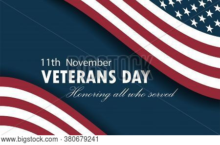 Happy Veterans Day Horizon Background. Vector Illustration With Usa Flag