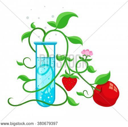 GMO genetically modified foods growing in test-tube. Isolated on white background. 3D illustration.