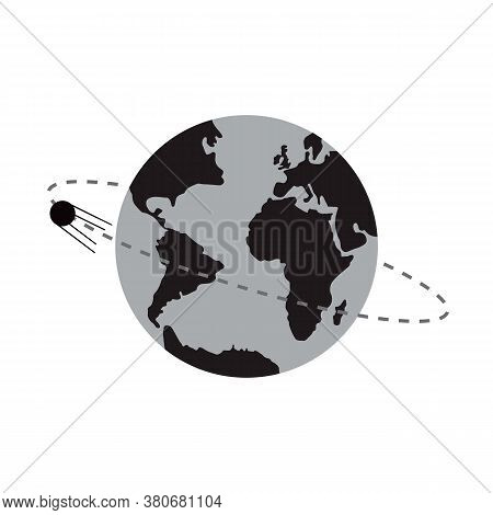 Artificial Satellite In Orbit Around Earth. Flat Style Vector Illustration