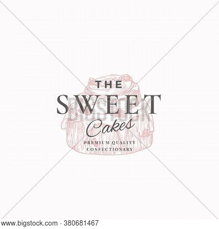 Premium Quality Confectionary Abstract Sign, Symbol Or Logo Template. Hand Drawn Cake And Typography