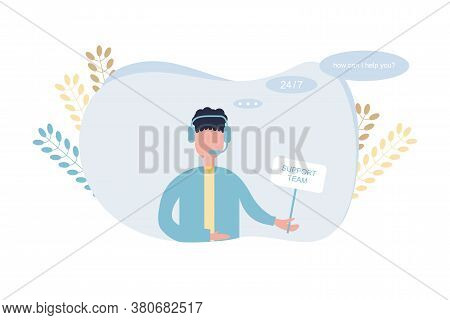 Call Center Operator Illustration. Support Team With Wireless Headset. Office Service Assistance. Op