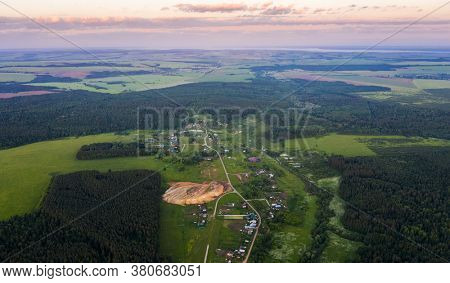Aerial view of the remote village among the forest. Tatarstan Repiblic, Russia