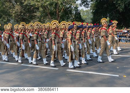 Kolkata, West Bengal, India - 26th January 2020 : India's Central Social Welfare Board (cswb) Cadets