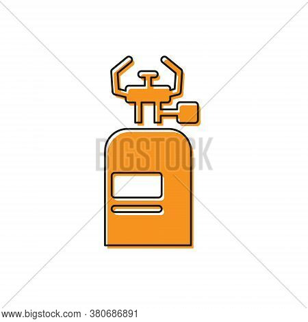 Orange Camping Gas Stove Icon Isolated On White Background. Portable Gas Burner. Hiking, Camping Equ