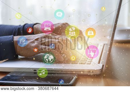 Lifestyle And Technology Concept  Close Up Man Hands With Laptop And Social Media Web Chart Backgrou