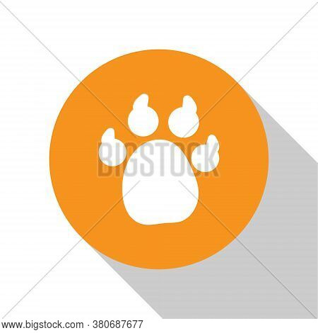 White Paw Print Icon Isolated On White Background. Dog Or Cat Paw Print. Animal Track. Orange Circle
