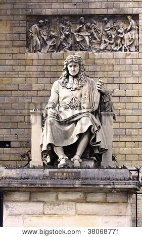 Statue of Jean Baptiste Colbert in the front of Assemblee nationale, Paris, France poster
