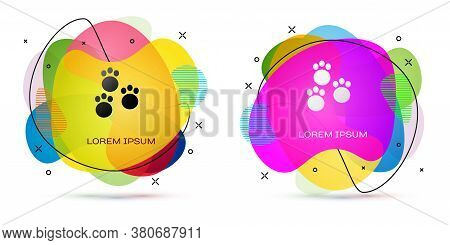 Color Paw Print Icon Isolated On White Background. Dog Or Cat Paw Print. Animal Track. Abstract Bann
