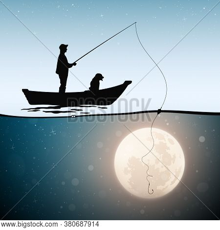 Fisherman In Boat With Dog On Moonlight Night. One Line Female Portrait. Man Silhouette Catches Full