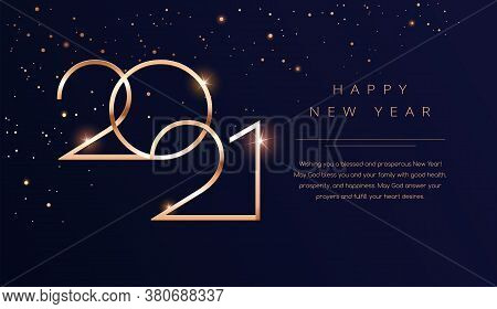 Luxury 2021 Happy New Year Background. Golden Design For Christmas And New Year 2021 Greeting Cards