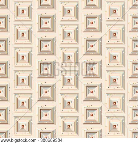 Thin Squares With Small Circles Seamless Pattern. Geometry Simple Square In Square Vector Pattern As
